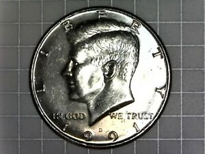 1991 D KENNEDY HALF DOLLAR CIRCULATED AND NICE.