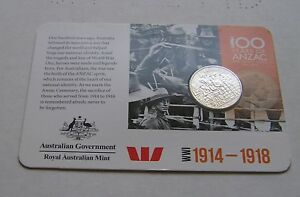 2015 20 CENT   100 YEARS OF ANZAC   WW1 1914 1918; COIN AND RAM CARD