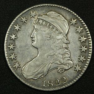 Click now to see the BUY IT NOW Price! 1822 CAPPED BUST SILVER HALF DOLLAR   CLEANED
