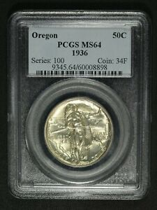Click now to see the BUY IT NOW Price! 1936 OREGON TRAIL SILVER COMMEMORATIVE HALF DOLLAR PCGS MS 64