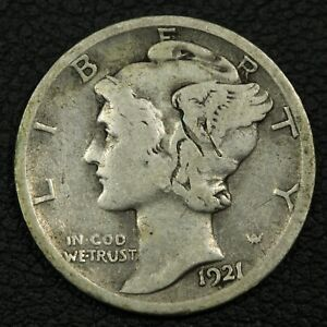 Click now to see the BUY IT NOW Price! 1921 D MERCURY SILVER DIME   OBVERSE DAMAGE