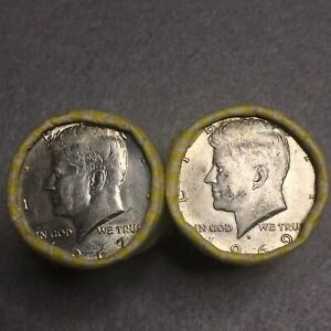 Click now to see the BUY IT NOW Price! 2 ROLLS 40 COINS  40  SILVER KENNEDY HALF DOLLARS 1965 1969   $20 FACE VALUE