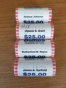 Click now to see the BUY IT NOW Price! 2011 PRESIDENTIAL $1 COINS $25 BANK ROLLS JOHNSON GRANT HAYES GARFIELD