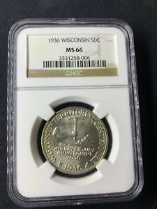 1936 WISCONSIN COMMEMORATIVE MS66   CLASSIC COMMEMORATIVE   NGC GEM WHITE FIELD