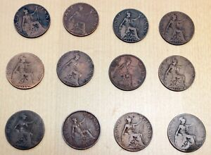 LOT OF 12 DIFFERENT GREAT BRITAIN 1/2 PENNY COINS 1912 1936 GEORGE V