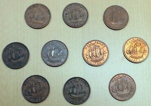 LOT OF 10 DIFFERENT GREAT BRITAIN 1/2 PENNY COINS 1957 1967 ELIZABETH II