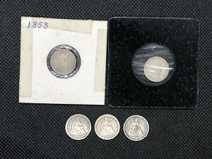 LOT OF 5 HALF DIME SEATED LIBERTY SILVER COINS 1855 1856 1858  2  1868 S