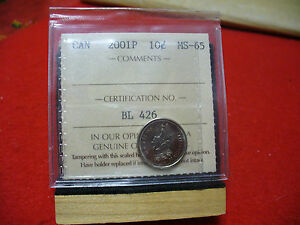 Click now to see the BUY IT NOW Price! 2001P  CANADA   DIME  10 CENTS  PIECE   COIN   I.C.C.S. GRADED MS 65  SEE PHOTOS