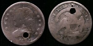 1835 CAPPED BUST HALF DIME   HOLED