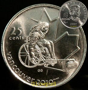 CANADA COIN .25C VANCOUVER 2010 OLYMPICS PARAOLYMPICS WHEEL CHAIR CURLING