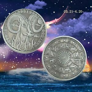 ARIES SILVER COIN NIUE 12 CONSTELLATION EMBOSSED ARIES COLLECTION PLATED COIN
