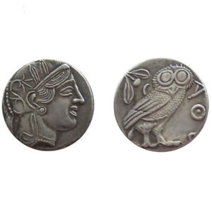 SILVER PLATED ANCIENT GREEK COIN  OWL COIN COMMEMORATIVE NO.04