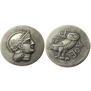 SILVER PLATED  ANCIENT GREEK COIN CRAFT GIFT COMMEMORATIVE OWL COIN NO.33