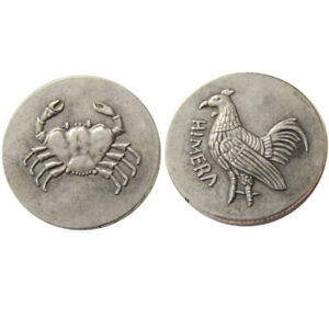 SILVER PLATED  ANCIENT GREEK COIN COMMEMORATIVE COCK&CRAB CRAFT COIN NO.36
