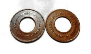 PAKISTAN    ONE PICE   1948 & 1952   2 HOLE COINS   COPPER COIN