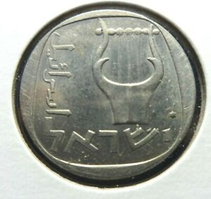 ISRAEL  5733 / 1973  25 AGOROT  THREE STRINGED LYRE  COIN 25.5 MM