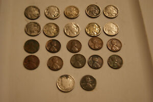 MAKE OFFER LOT   22 COINS PLUS A BONUS ITEM   BUFFALOS WHEATIES V AND STEEL