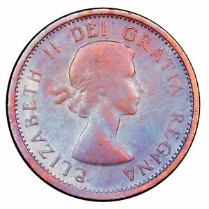 1957 CANADIAN 1 CENT TONED TOMING 1.259