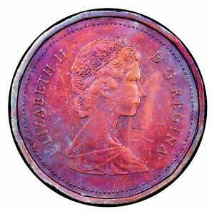 1985 CANADIAN 1 CENT TONED TOMING 1.257
