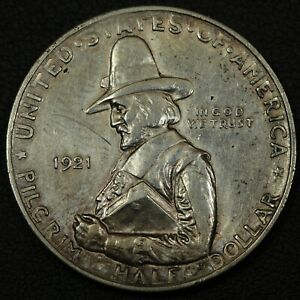 Click now to see the BUY IT NOW Price! 1921 PILGRIM SILVER COMMEMORATIVE HALF DOLLAR   CLEANED