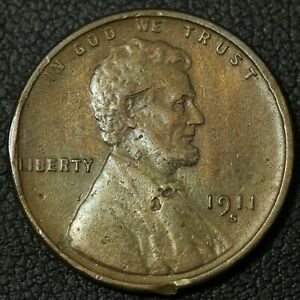 Click now to see the BUY IT NOW Price! 1911 S LINCOLN WHEAT CENT COPPER PENNY   CLEANED DAMAGED & BENT