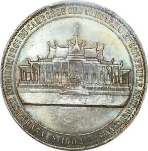 Click now to see the BUY IT NOW Price! P0418 FINEST CAMBODIA CORONATION PHNOM PENH NORODOM I 1902 PCGS MS63