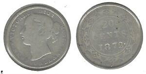 NEWFOUNDLAND 1872 .925 SILVER 20 CENT COIN   TAKE A LOOK