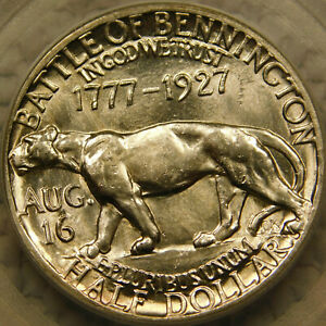 1927 VERMONT HALF DOLLAR SILVER CERTIFIED PCGS MS63 BATTLE OF BENNINGTON