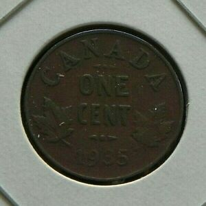1935 CIRCULATED CANADIAN CANADA PENNY 1 ONE CENT MAPLE LEAFS GEORGE V