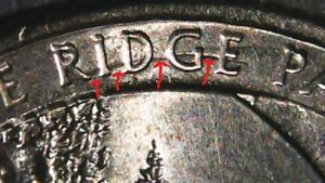 2015 P BLUE RIDGE PARKWAY QUARTER DIE BREAK / CRACK ERROR  S  REVERSE