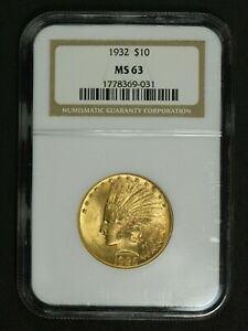 1926  NGC 1932  ERROR SLAB $10 TEN DOLLAR GOLD INDIAN EAGLE NGC MS 63