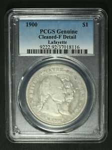 1900 LAFAYETTE COMMEMORATIVE SILVER DOLLAR PCGS F DETAILS   CLEANED