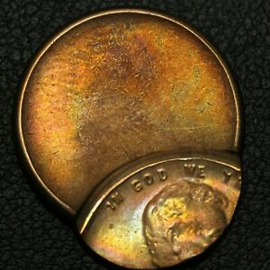 ND OFF CENTER ERROR LINCOLN WHEAT CENT COPPER PENNY   BEAUTIFUL TONING