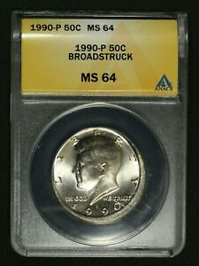 1990 P BROADSTRUCK ERROR KENNEDY HALF DOLLAR ANACS MS 64