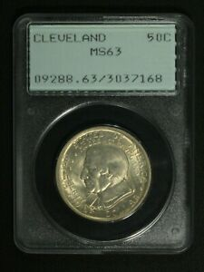 1936 CLEVELAND SILVER COMMEMORATIVE HALF DOLLAR PCGS MS 63   RATTLER