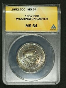 Click now to see the BUY IT NOW Price! 1952 WASHINGTON CARVER SILVER COMMEMORATIVE HALF DOLLAR ANACS MS 64   TONING