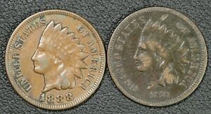 Click now to see the BUY IT NOW Price! 1873  ENVIRO. DAMAGE  & 1888 INDIAN HEAD CENT COPPER PENNIES   TWO COIN LOT