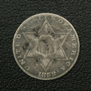 Click now to see the BUY IT NOW Price! 1858 SILVER THREE CENT PIECE