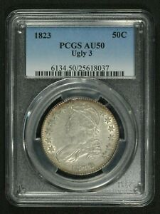 Click now to see the BUY IT NOW Price! 1823 UGLY 3 CAPPED BUST SILVER HALF DOLLAR PCGS AU 50