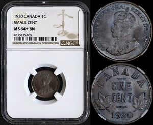 CANADA 1 CENT 1920 SMALL CENT  PCGS MS64 BN   PRETTY BLUE TONING