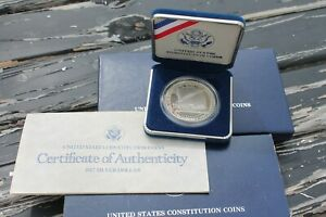 1987 S $1 CONSTITUTION COIN PROOF SILVER COMMEMORATIVE DOLLAR WITH BOX & COA