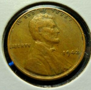 USA  1942 ONE CENT LINCOLN WHEAT PENNY WWII  KM 132