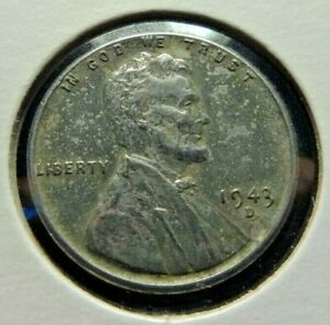 USA  1943 D ONE CENT STEEL PENNY  WWII KM 132 A
