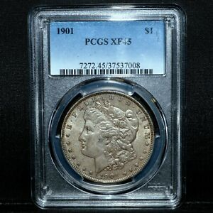 1901 P $1 MORGAN SILVER DOLLAR  PCGS XF 45  S$1 EXTRA FINE  TRUSTED