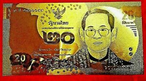 THAILAND 20 BAHT BANKNOTE 24K GOLD COLOURED BANK NOTE LIMITED