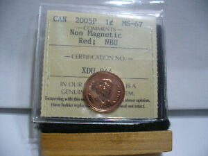Click now to see the BUY IT NOW Price! 2005 P CANADA NON MAGNETIC  PENNY   ONE 1  CENT   ICCS GRADED MS 67
