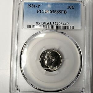 1981 P 10C ROOSEVELT DIME FULL BANDS PCGS MS65FB