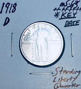 1918 D GEM BU    BRILLIANT UNCIRCULATED   KEY DATE   STANDING LIBERTY QUARTER Z8