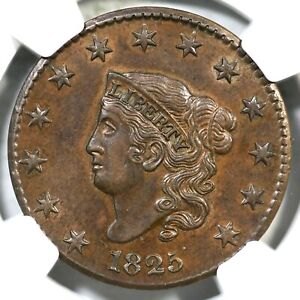 Click now to see the BUY IT NOW Price! 1825 N 2 R 2 NGC AU 58 CAC MATRON OR CORONET HEAD LARGE CENT COIN 1C