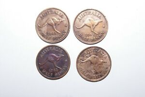 1943 1/2 LARGE PENNY AUSTRALIA A LOT OF 4 HIGH VALUE COINS
